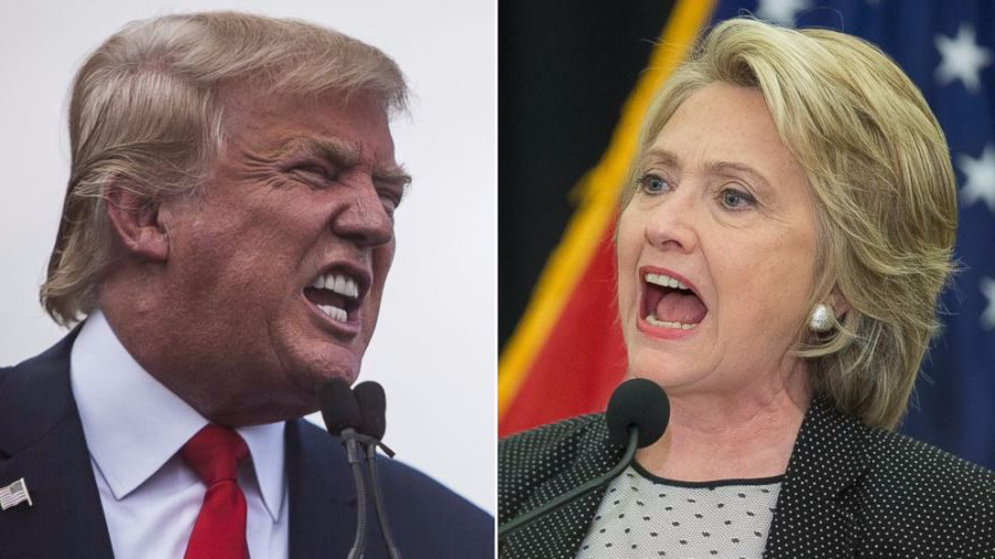 Hillary+Clinton+%28left%29+and+Donald+Trump+%28right%29+face+off+in+a+debate+on+Monday+night.+